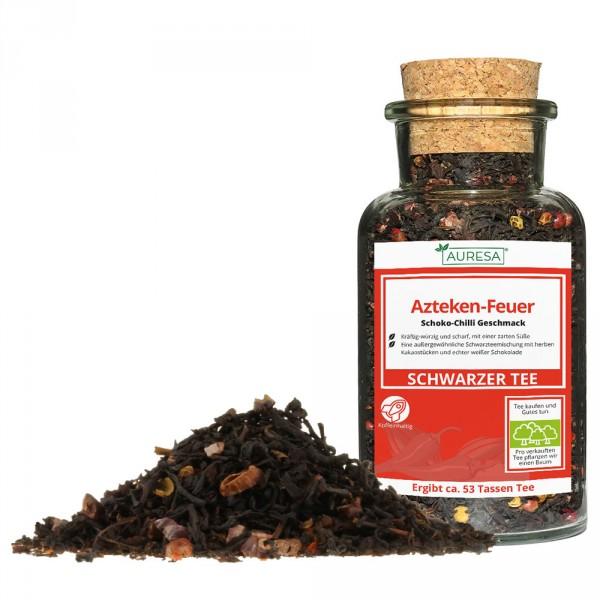 Loose black tea Azteken-Feuer in a glass