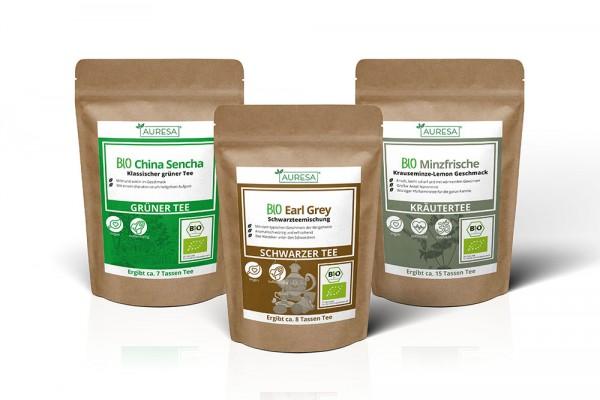 Bio Tee Set: Schwarzer Tee Earl Grey, Kräutertee Minzfrische und grüner Tee China Sencha