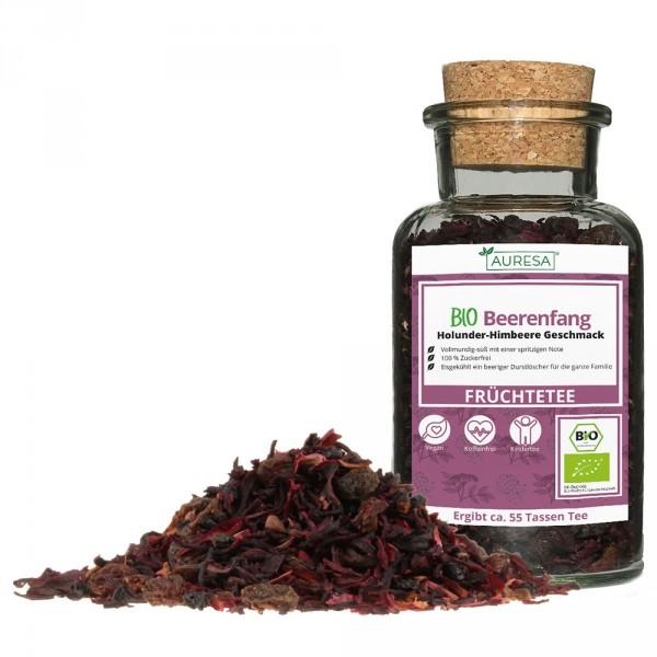 Loose organic Beerenfang fruit tea in a glass