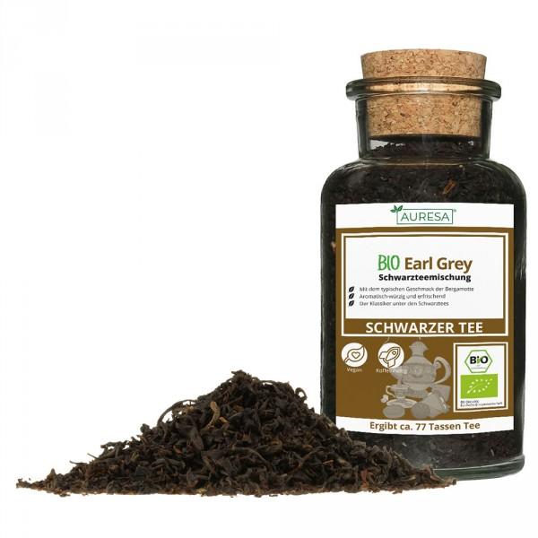 Loose black tea organic Earl Gray in a glass
