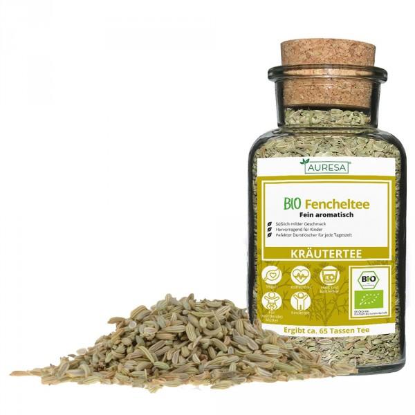Loose organic fennel tea in a glass