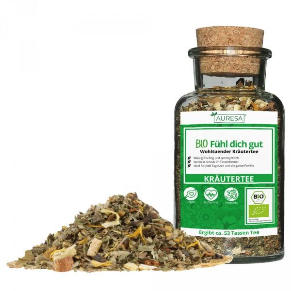 Loose organic Fühl dich gut herbal tea in a glass