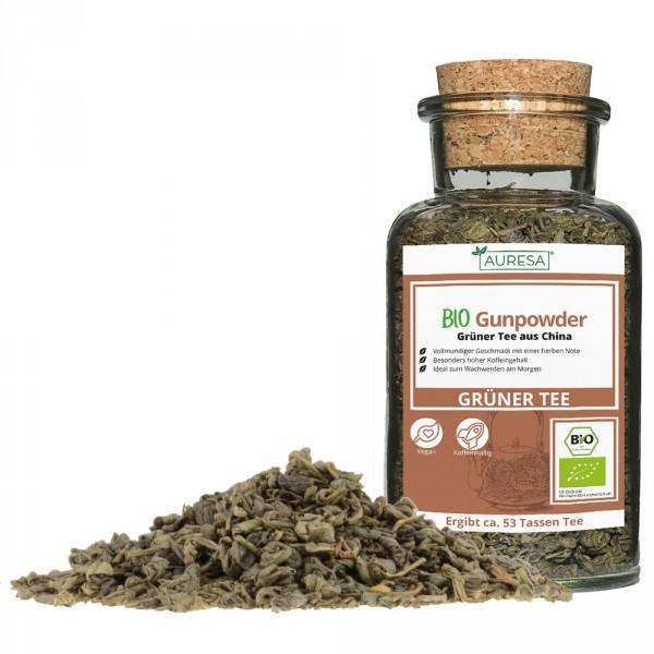 Loose green tea organic Gunpowder in a glass