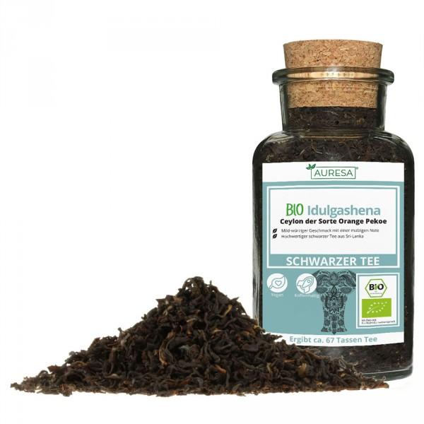 Loose black tea - Ceylon Bio Idulgashena in a glass