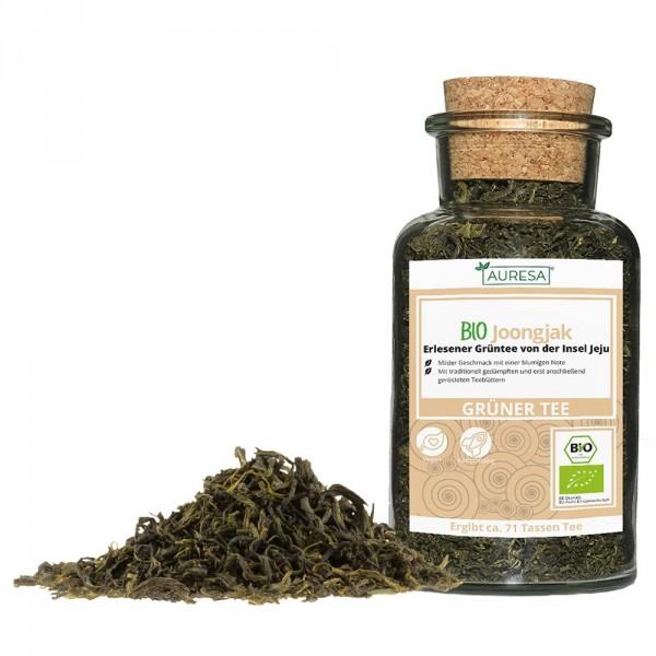 Loose green tea organic joongjak in a glass