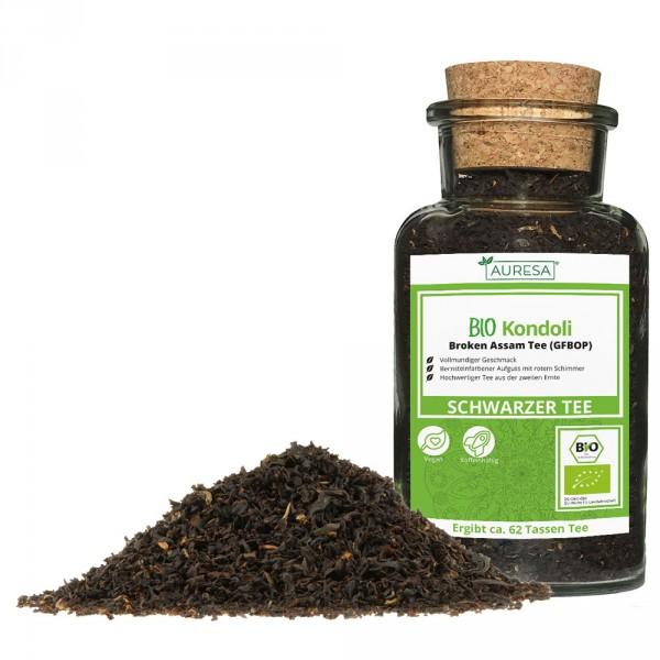 Loose black tea organic Kondoli from Assam in a glass