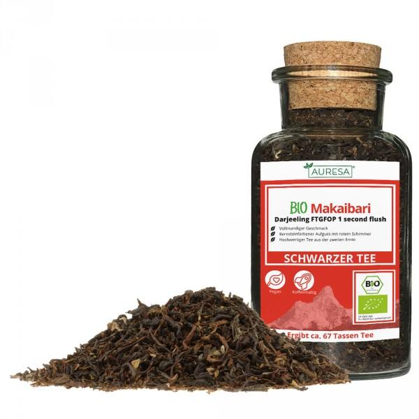 Loose black tea organic Makaibari Darjeeling in a glass