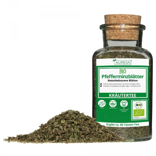 Loose herbal tea organic peppermint leaves in a glass