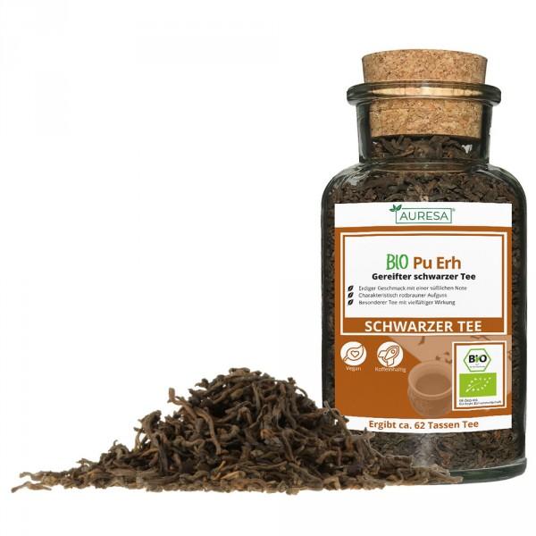 Loose Chinese black tea organic Pu Erh in a glass