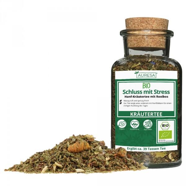 Organic loose herbal tea Schluss mit Stress in the glass