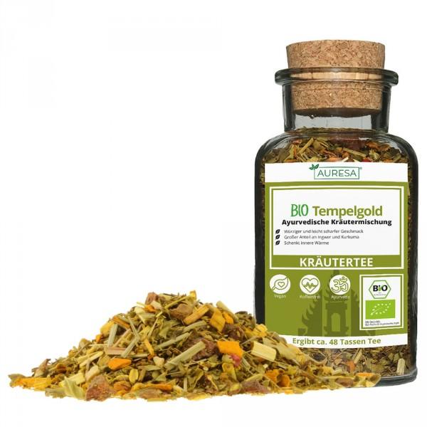 Ayurveda loose herbal tea Bio Tempelgold with glass