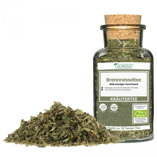 Loose herbal tea Nettle tea with glass