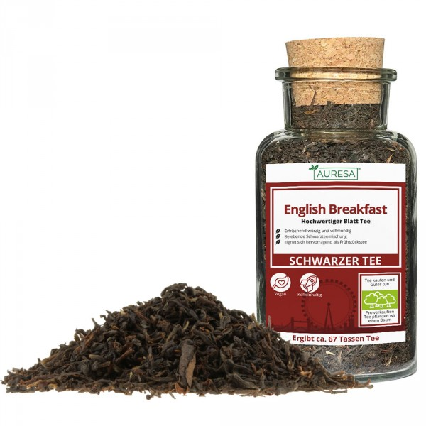 Lots of black tea mixture English Breakfast in the glass