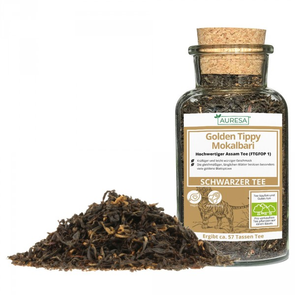 Loose black tea from Assam in a glass