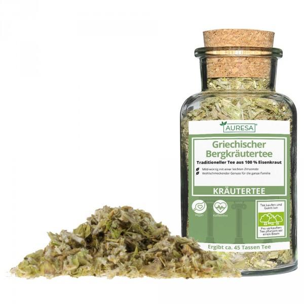 Loose herbal tea Griechischer Bergkräutertee with a glass