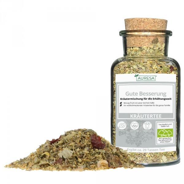 Loose herbal tea Gute Besserung with a glass