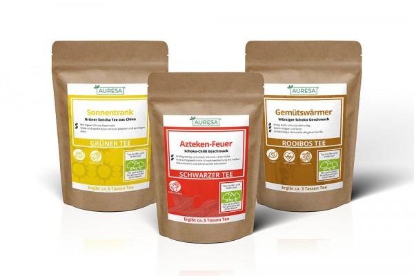 Schwarzer Tee Azteken-Feuer, Rooibos Gemütswärmer und grüner Tee Sonnentrank