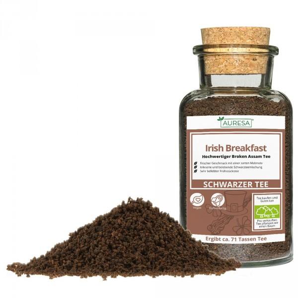 Loose black tea Irish Breakfast in a glass