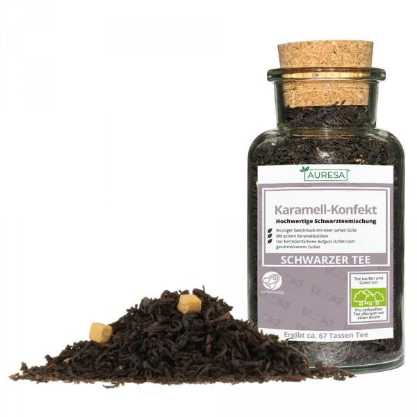 Flavored loose black tea Karamell-Konfekt in a glass