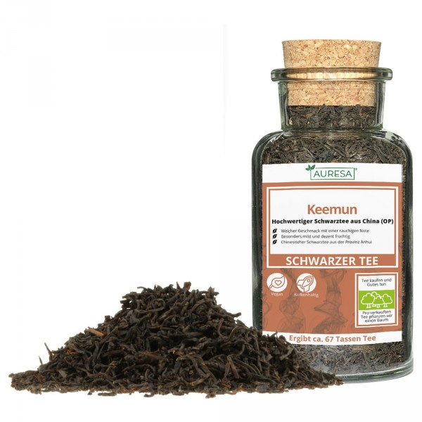Loose Chinese black tea Keemun in a glass
