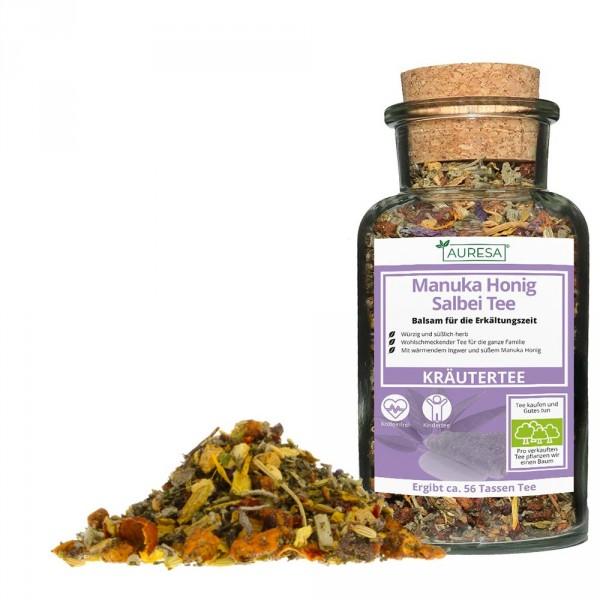 Loose herbal tea Manuka Honig Salbei Tee with glass