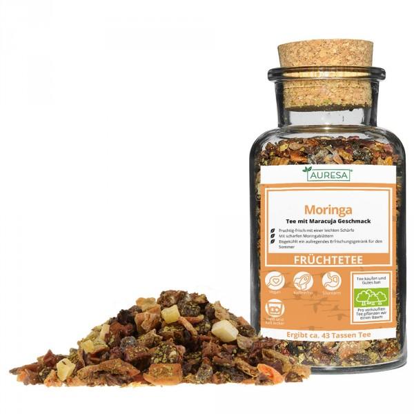 Loose fruit tea Moringa in a glass