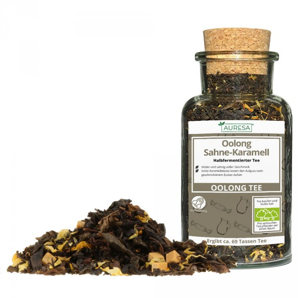 Loose oolong Sahne-Karamell in a glass