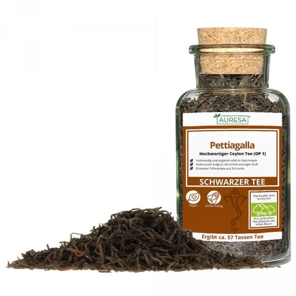 Loose black tea from Ceylon Pettiagalla in a glass
