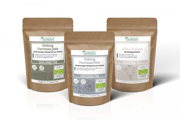 Drei verschiedene Oolong Tees: Formosa Fine und Jade und Milky Oolong
