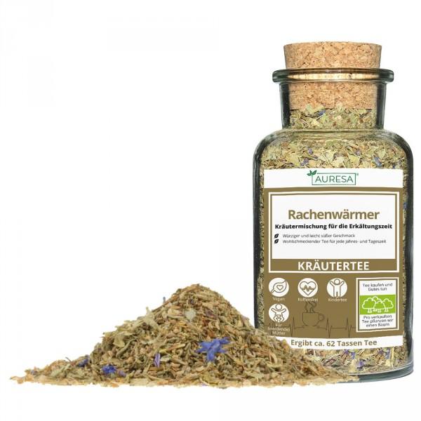 Loose herbal tea Rachenwärmer with glass
