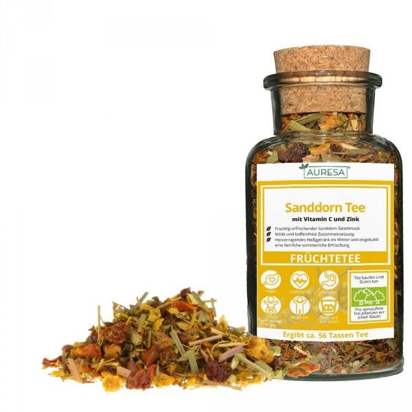 Loose fruit tea Sanddorn Tee with glass