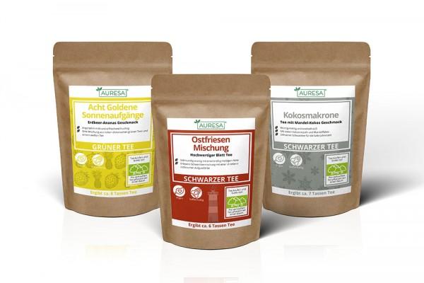 Zwei Schwarzteemischungen und ein aromatisierter grüner Tee