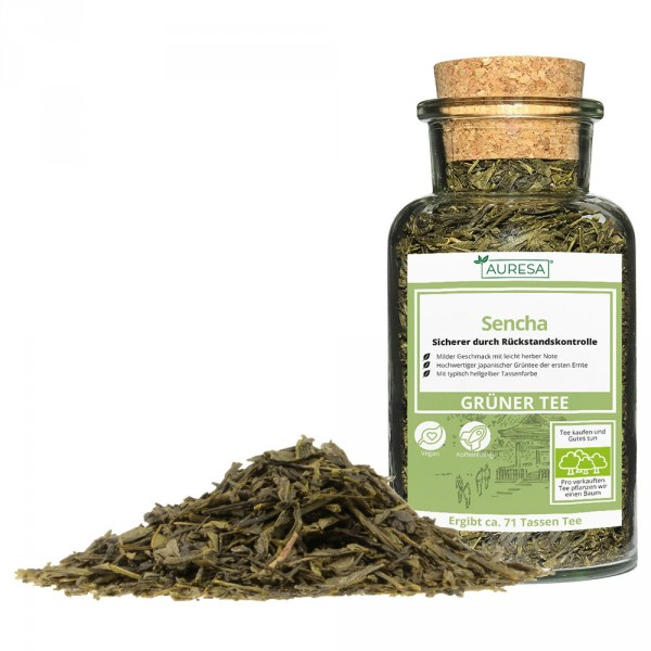 Loose green tea Sencha in a glass