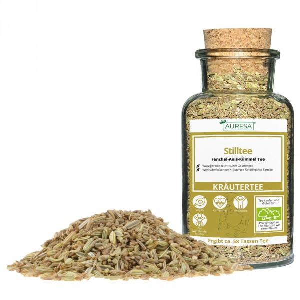 Loose herbal tea Stilltee with glass