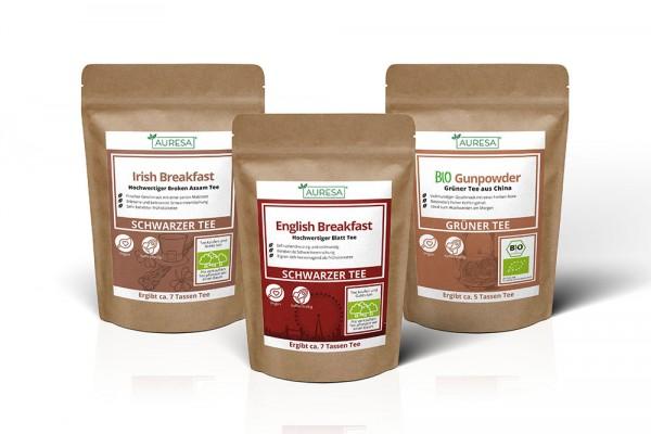 Schwarztee English und Irish Breakfast und Grüntee Bio Gunpowder