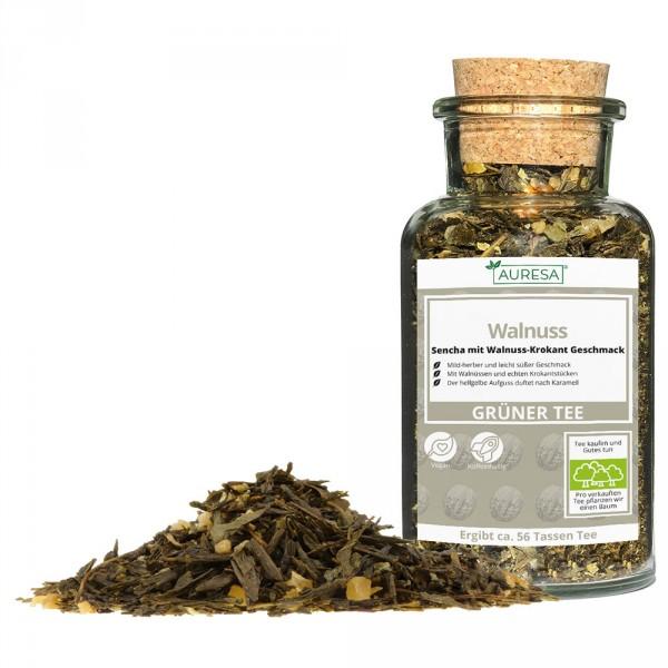 Loose green tea Sencha walnut in a glass