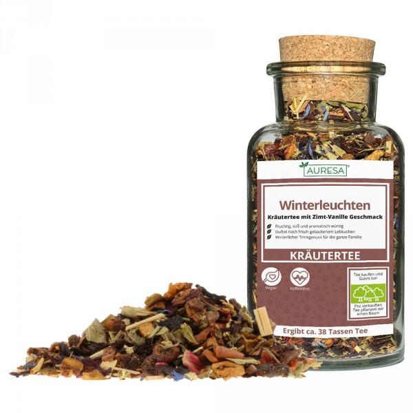 Loose herbal tea Winterleuchten in the glass
